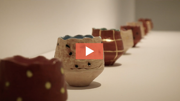 Still from video of Didem Mert's exhibition at Greenwich House Pottery.